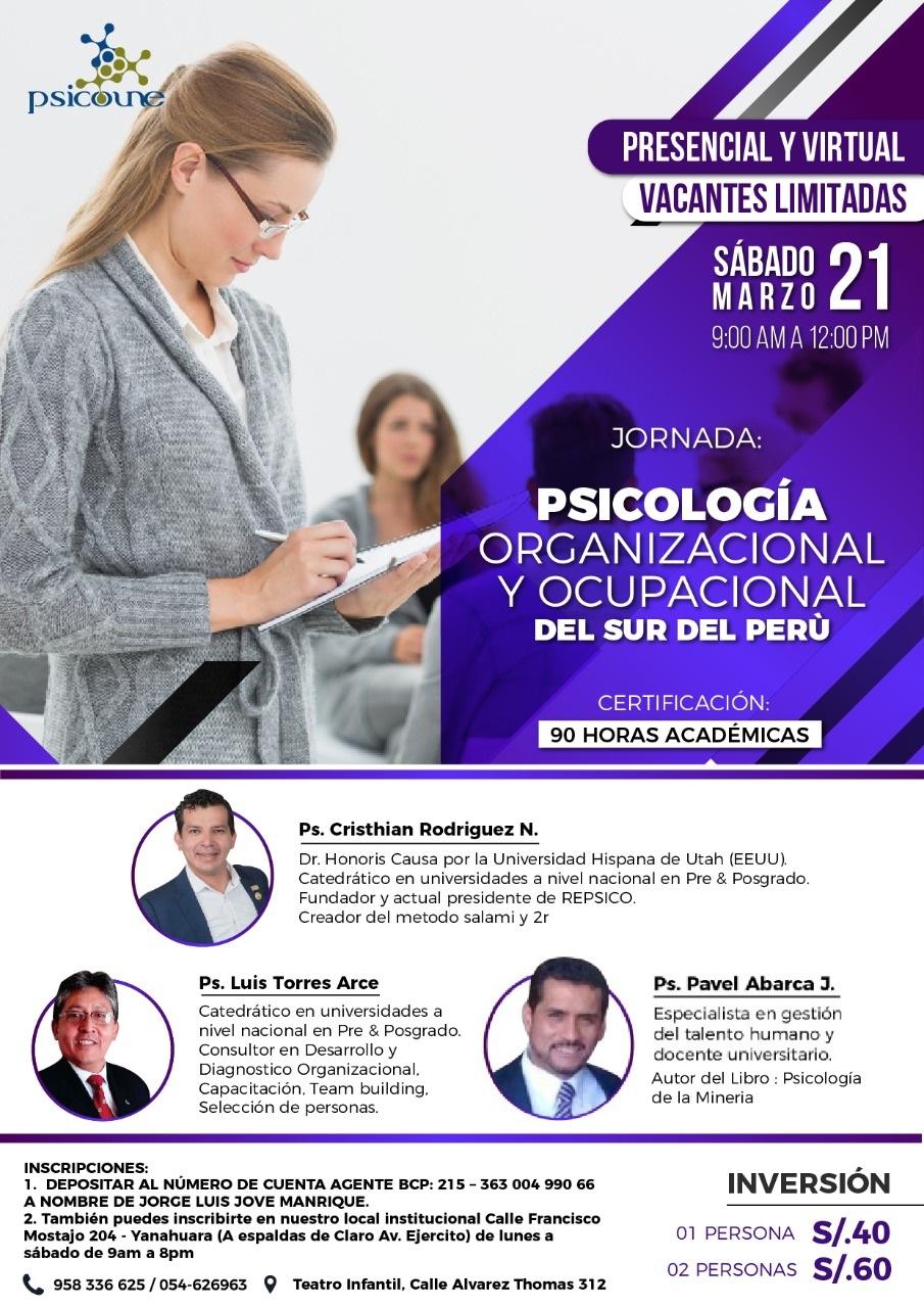 JORNADA DE PSICOLOGIA ORGANIZACIONAL Y OCUPACIONAL DEL SUR DEL PERÚ